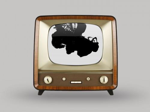 Vintage television over white background